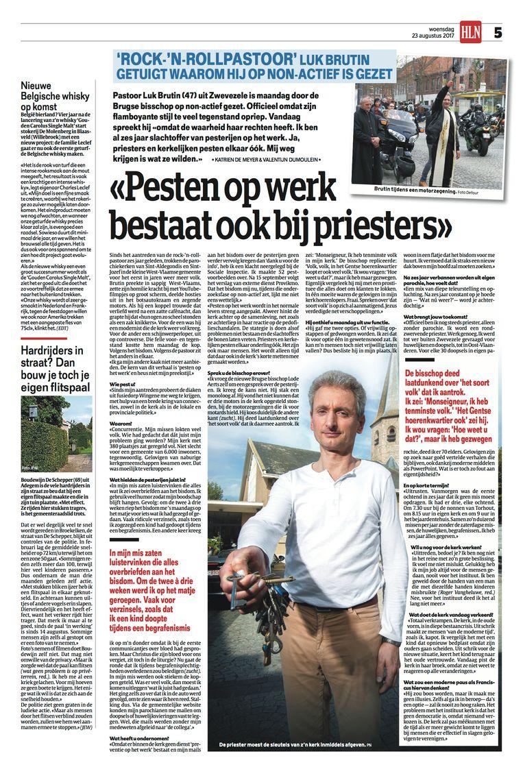 In augustus 2017 kreeg priester Luk Brutin te horen dat hij niet langer vieringen in de Sint-Aldegondis-parochie in Zwevezele mocht voorgaan. Brutin getuigde over aanhoudende pesterijen.