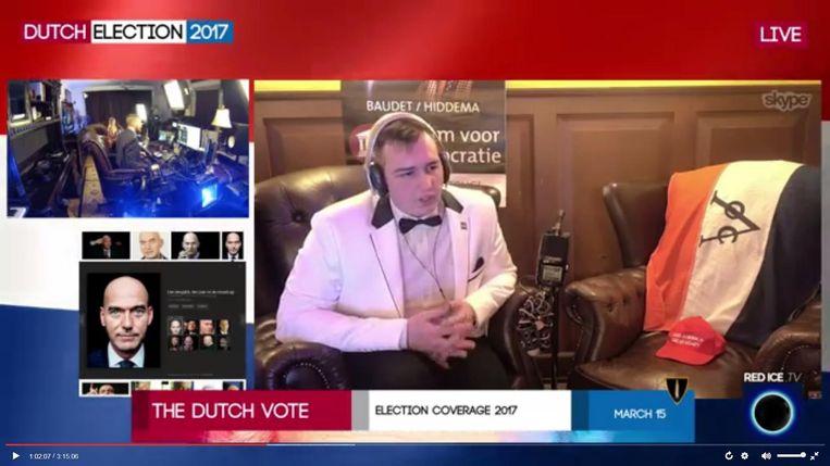 Fausto, in een uitzending tijdens de verkiezingen van 15 maart van dit jaar, uitgezonden door Red Ice. Beeld .