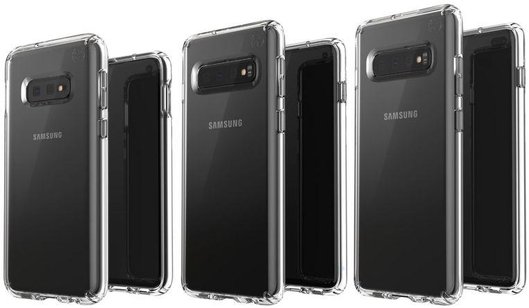 Van links naar rechts: Samsung S10E, S10 en S10+.
