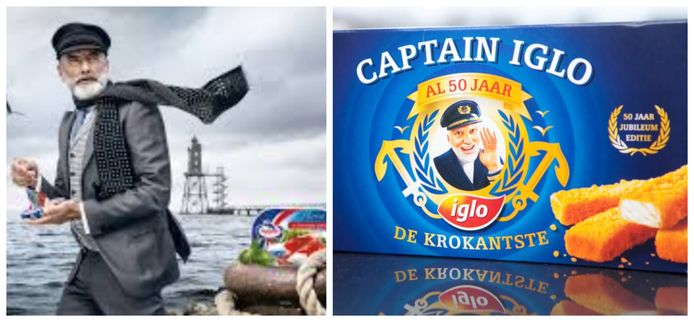 Links de man met baard en pet van Appel Feinkost. Foto rechts: Kapitein Iglo op een speciale fishsticks-verpakking uit 2010.