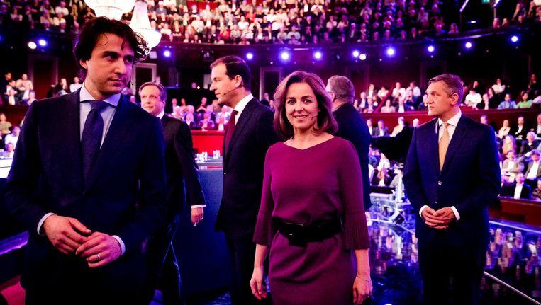 Jesse Klaver en Marianne Thieme voor aanvang van het Carré-debat. Beeld anp