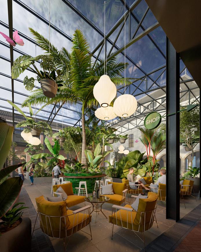 Een artist impression van de binnentuin van Breda Botanique