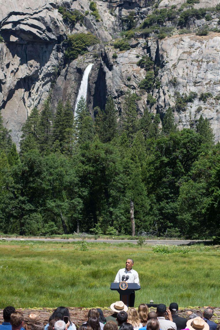 President Barack Obama in Yosemite National Park. Beeld AFP