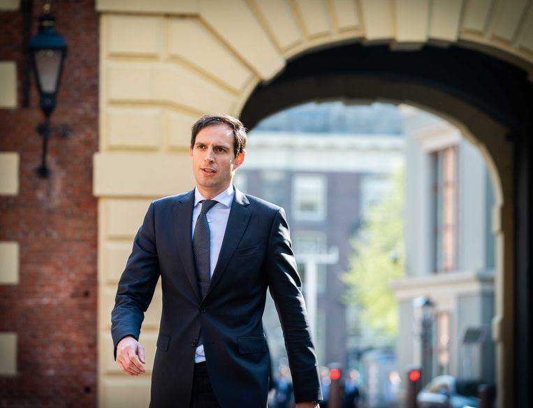 Minister Wopke Hoekstra van Financiën bij aankomst op het Binnenhof voor de wekelijkse ministerraad, in april.  Beeld ANP