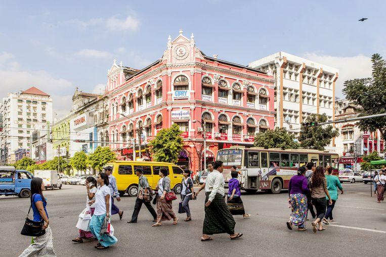 Pansodan Street in Yangon. Beeld Yvonne Brandwijk