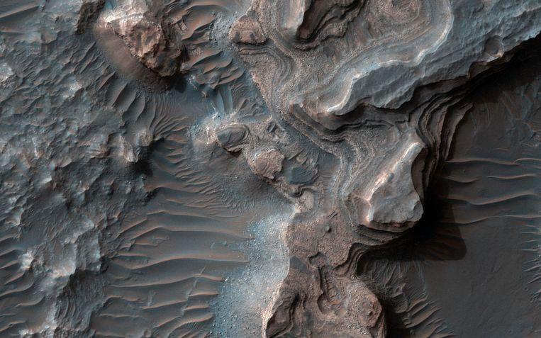 Uzboi Vallis. In deze Marsvallei huisde ooit een buitenaards meer. Beeld NASA