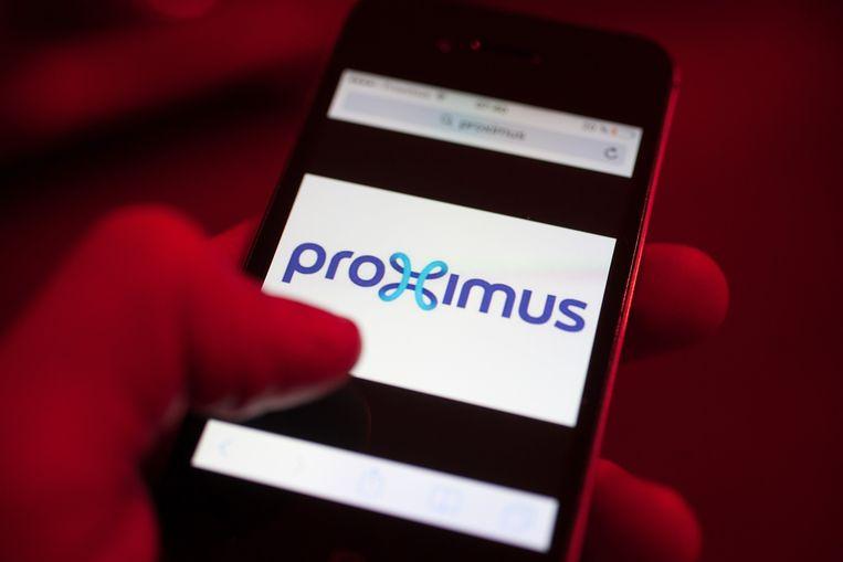 Een telefoon met het Proximus-logo.