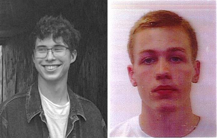 De 21-jarige Erwan Ferrieux (l) en zijn één jaar jongere Britse reisgenoot Hugo Palmer op een opsporingsbericht van de politie.