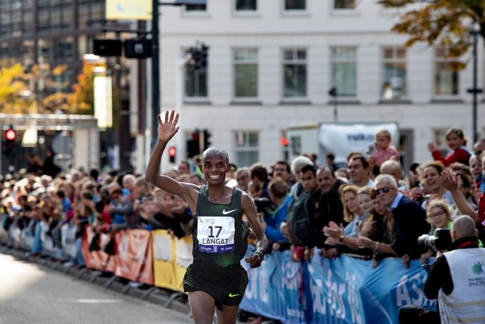 finish marathon Eindhoven met Langat