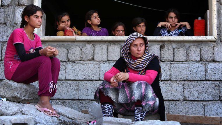 Jezidi-vrouwen in Noord-Irak, op de vlucht voor het geweld van IS.