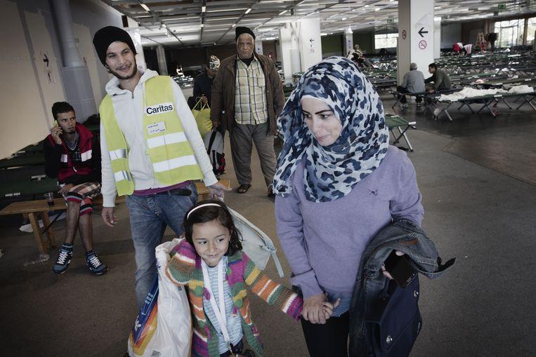 Syrische vluchtelingen in Graz in Duitsland. Beeld Daniel Rosenthal