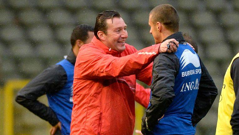 Wilmots en Simons in oktober vorig jaar op een training voor de interland tegen Wales.