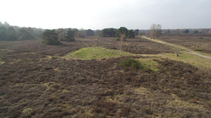 Drone-opname van een grafheuvel in de buurt van Ermelo.