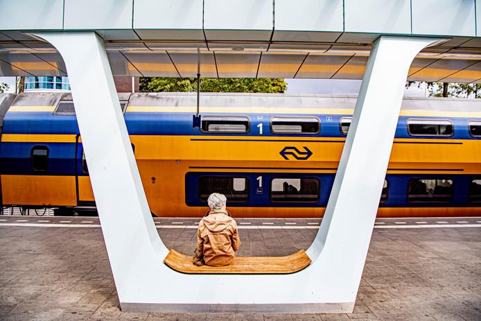Reiziger op station Arnhem Centraal.