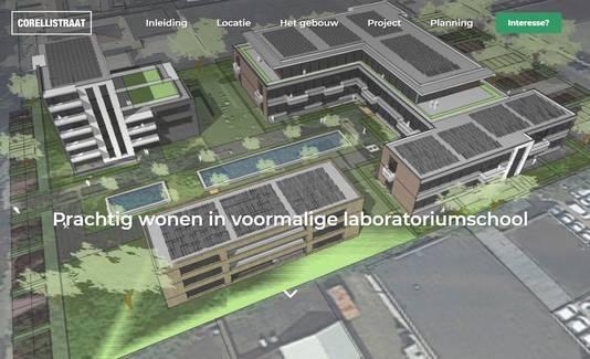 Op de website wonenaandecorellistraat.nl wordt het bouwplan op de plek van de voormalige laboratoriumschool al twee jaar aangeprezen.