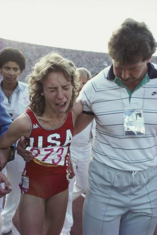 Mary Decker was zwaar ontgoocheld na haar val tijdens de Spelen van 1984.