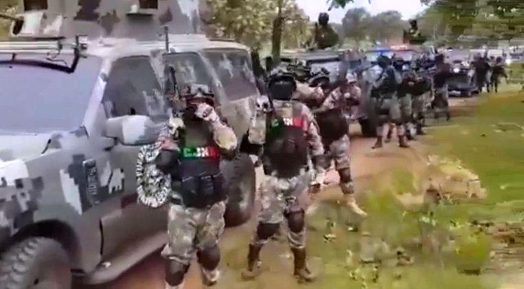Beeld uit de video van het Jaliscokartel Beeld CJNG