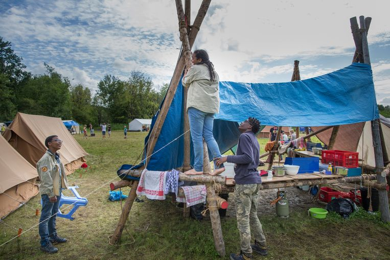 Scouts uit Amsterdam-Holendrecht op kamp op het scoutinglandgoed van Zeewolde Beeld Herman Engbers