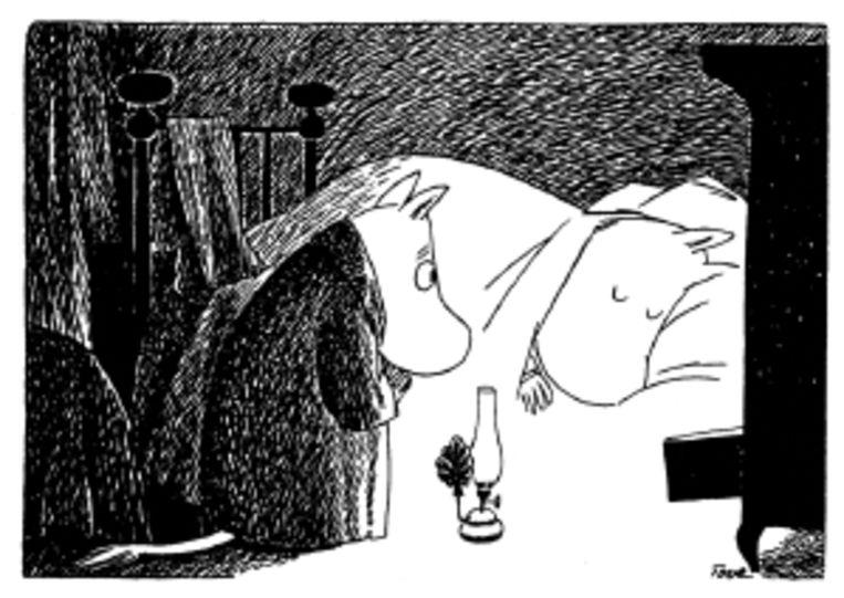 Moem kijkt of Mamamoem al wakker is uit haar winterslaap. (Trouw) Beeld
