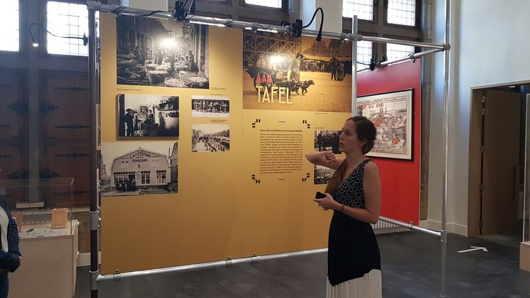 Museummedewerker Hannelore Franck geeft wat uitleg bij de tentoonstelling.