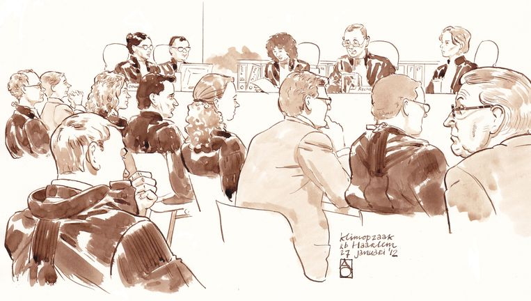 Verdachten van de Klimop-zaak in de rechtbank in 2012. Beeld anp
