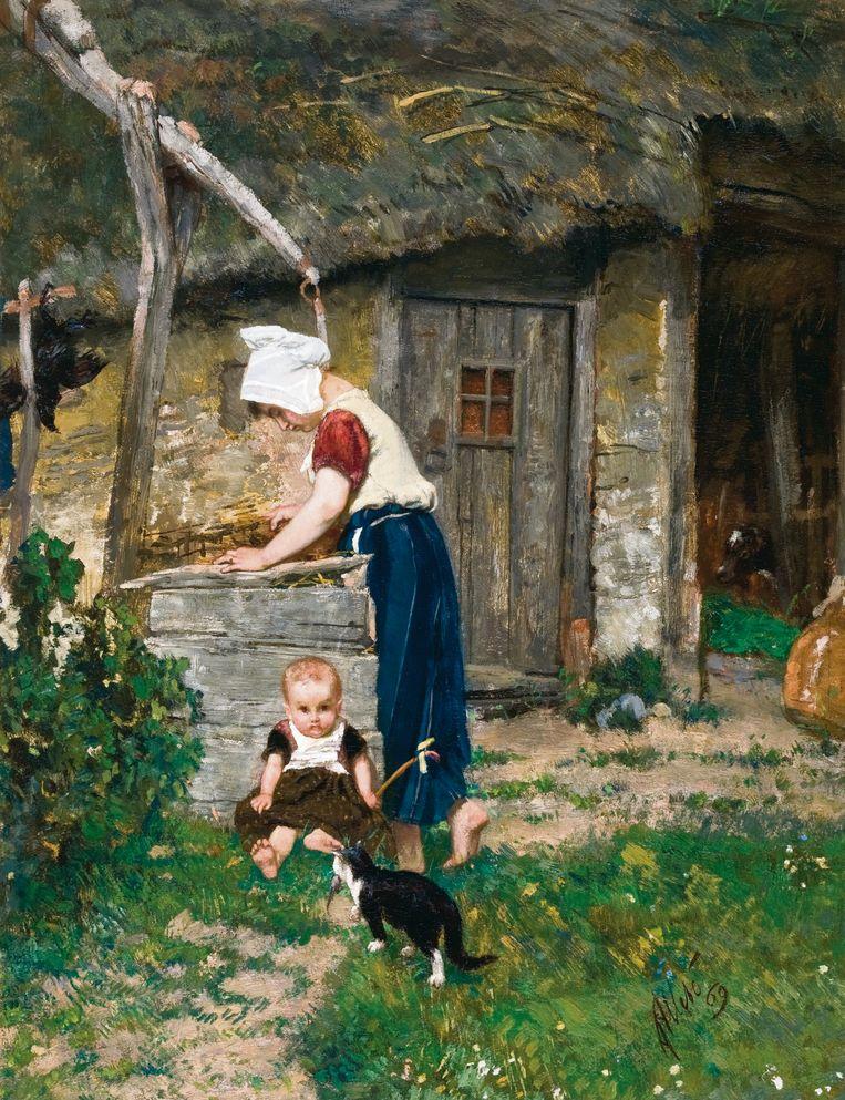 Boerenmeisje bij een waterput, 1869. Olieverf op paneel. Collectie Vereniging Vrienden Stedelijk Museum Breda Beeld August  Allebé