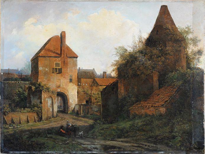 Gezicht op de Rijnpoort te Rhenen, circa 1838, het werk dat op een veiling werd ontdekt.