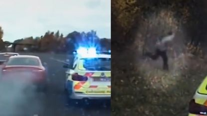 Straffe dashcambeelden tonen hoe drie politiewagens dief met veel moeite klemrijden