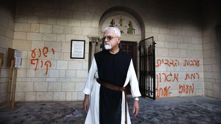 Antichristelijke graffiti aan een kerk in Jeruzalem, foto uit 2012.