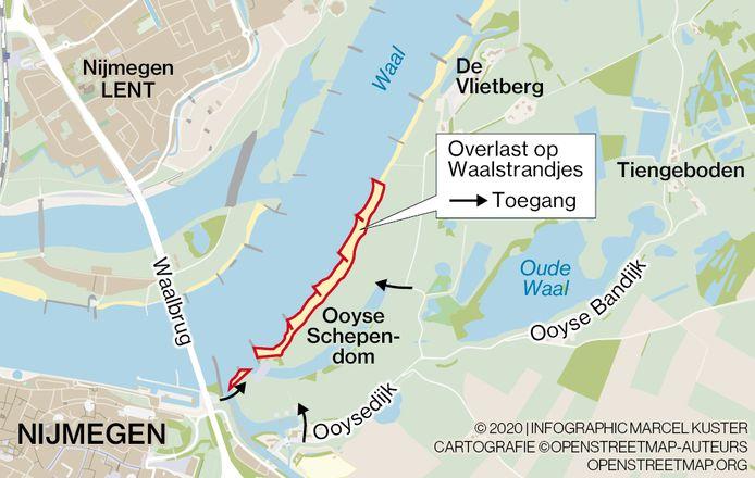 Overlast op de Waalstrandjes bij Nijmegen.