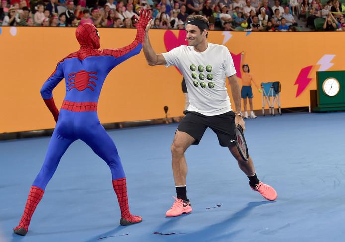 Roger Federer en Spider-Man.