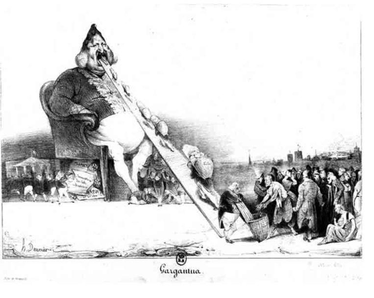 Daumiers litho Gargantua uit 1831 in het satirische weekblad La Caricature. Beeld Henk Slechte
