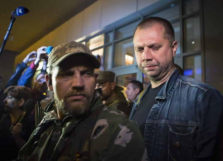 Aleksandr Borodaj, de zelfbenoemde eerste minister van de Volksrepubliek Donetsk (rechts).