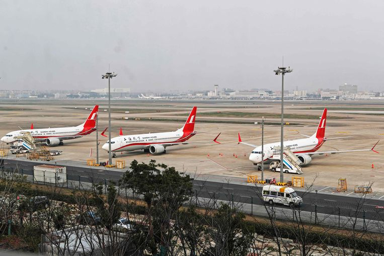 Drie Boeing 737 MAX 8-toestellen van Shanghai Airlines. Vrijwel alle landen houden de toestellen inmiddels aan de grond.  Beeld AFP