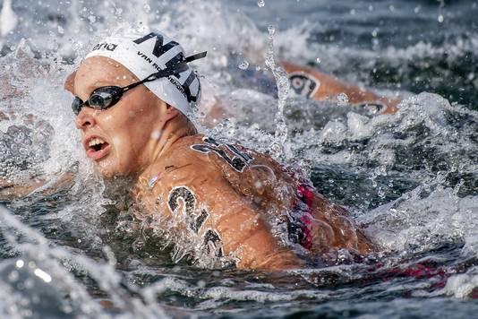 Sharon van Rouwendaal op de 5 kilometer open water in Zuid-Korea.