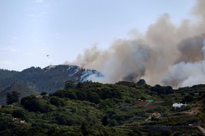 Les hommes du feu tentent d'éteindre un nouvel incendie sur l'île de Grande Canarie, samedi 17 août 2019, alors que les températures atteignent 37 degrés