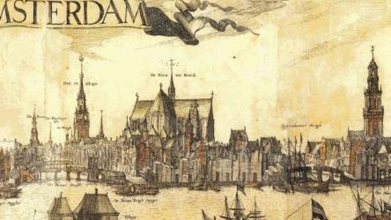 Stadsprofiel van Amsterdam van Pieter van der Keere, 1614-1618. Beeld