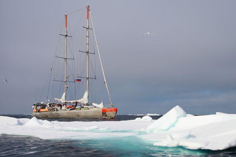 De Tara in arctisch water. Beeld Fondation Tara Ocean