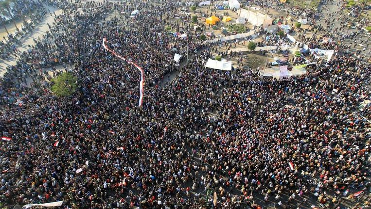 Protest op het Tahrirplein in Cairo. Beeld afp