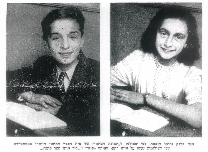 In precies dezelfde houding gingen Theo Coster en Anne Frank op de foto in 1941 voor het Joods Lyceum in Amsterdam.foto Theo Coster