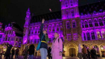 Stadhuis licht roze op