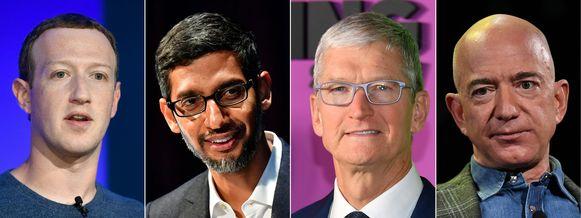 Mark Zuckerberg, Sundar Pichai, Tim Cook en Jeff Bezos