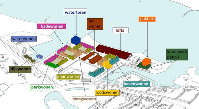 Een overzicht van de woonvormen in de nieuwe woonwijk Buitenstad in Zaltbommel.