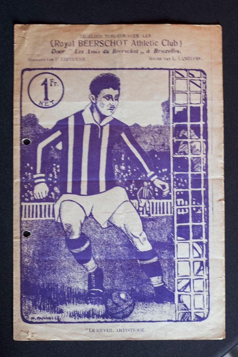 De voorloper van de Panini-stickers: een tekening van een Beerschot-speler van voor WO II.