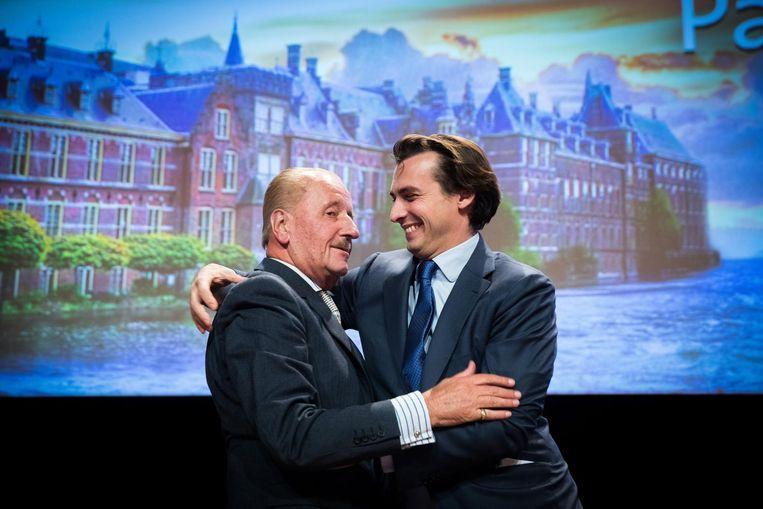 Theo Hiddema en Thierry Baudet van het Forum voor Democratie. Beeld anp