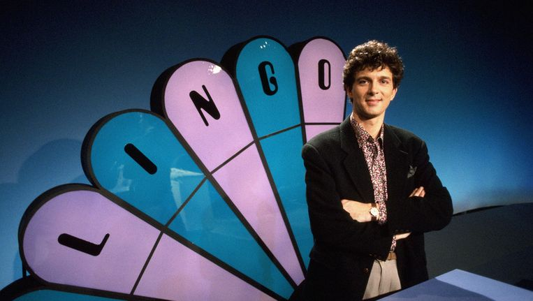 Robert ten Brink als eerste presentator van Lingo (van 1989 tot 1992). © ANP Beeld
