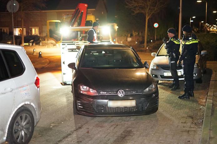 De in beslag genomen auto bij Druten.