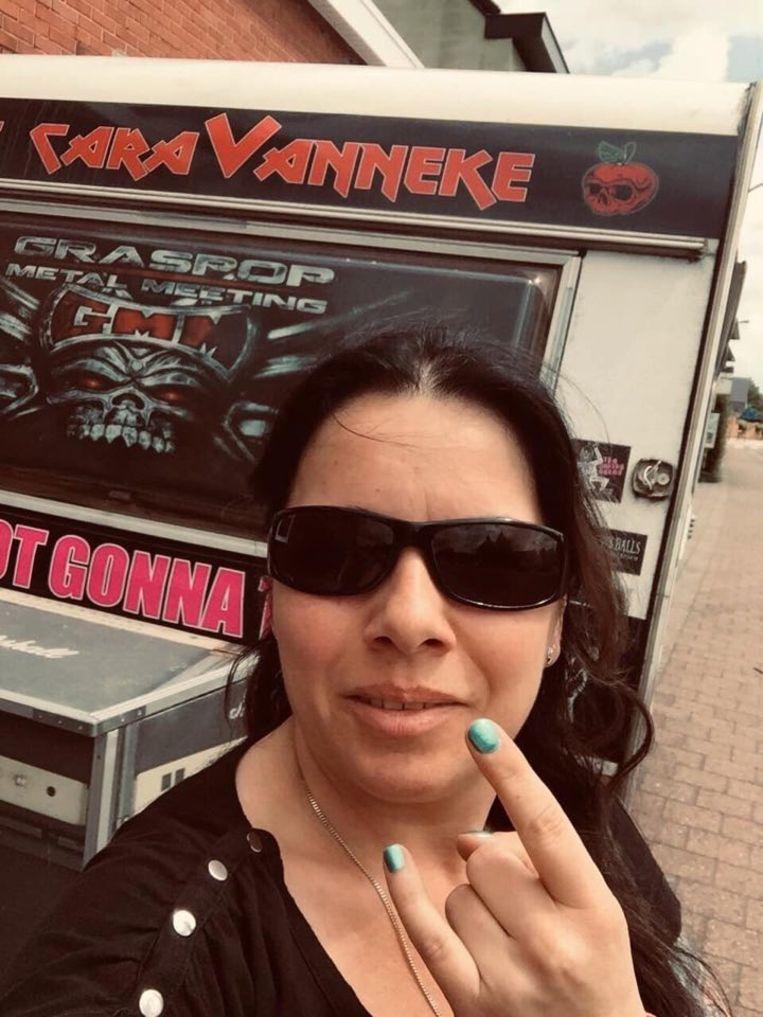 Vanessa Verdickt (42) aan haar 'caraVanneke'.
