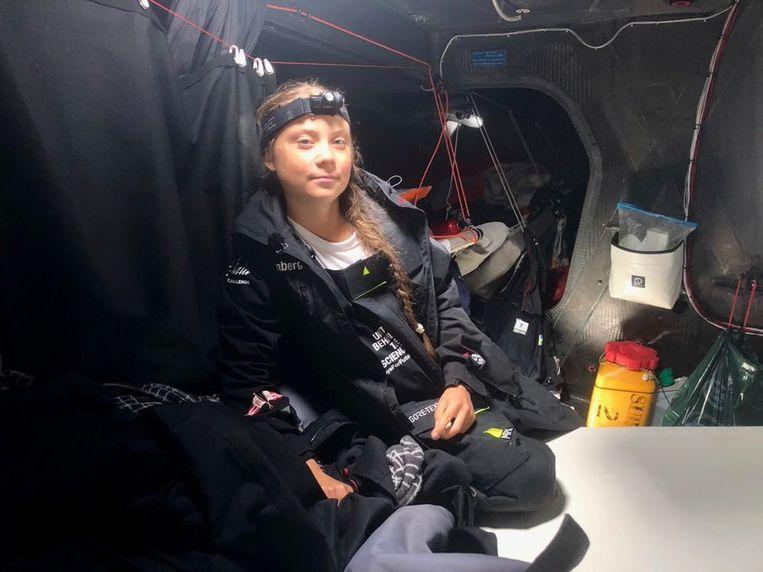Greta bracht twee weken op de zeilboot door.