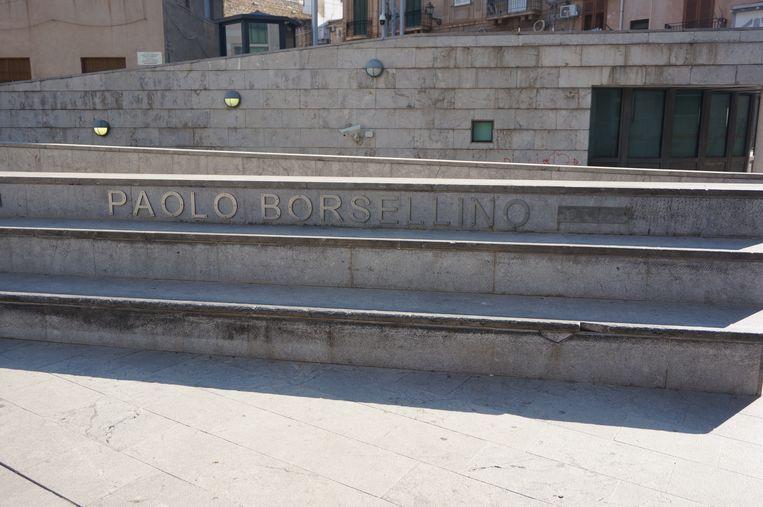 Monument in Palermo voor onderzoeksrechter Paolo Borsellino, 2019. Beeld null